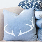 DEER HORN Grey & White Knitted Cotton Square Cushion Cover-Pillows-TheHomeDream