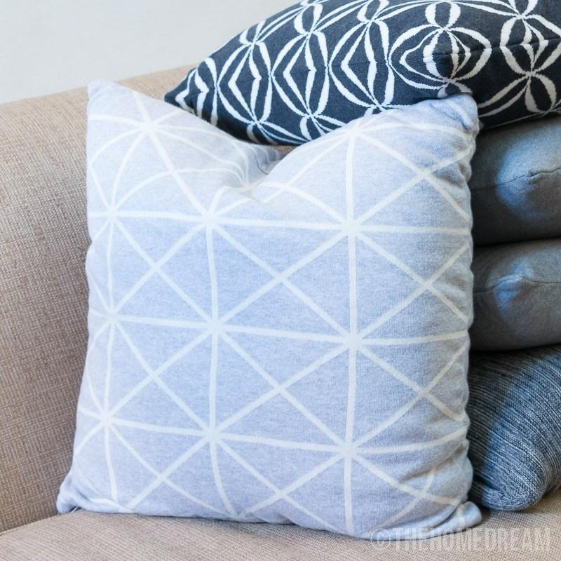 DIAGONAL GRID Grey Knitted Cotton Square Cushion Cover