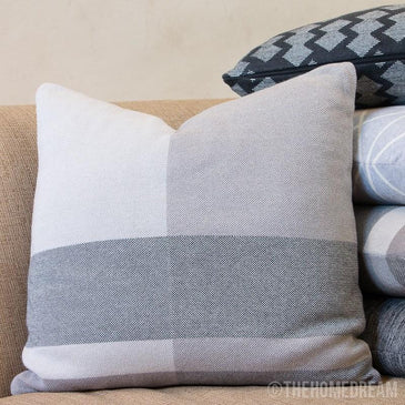 MODERN CHECK Beige Knitted Cotton Square Cushion Cover