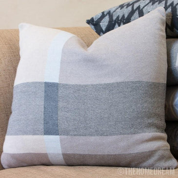 MODERN CHECK Blue Strip Knitted Cotton Square Cushion Cover