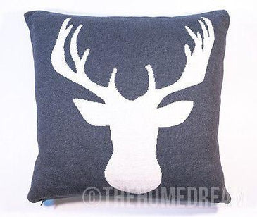 STAG/DEER/MOOSE Charcoal & White Knitted Cotton Square Cushion Cover