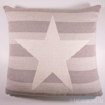 STAR Beige & White Knitted Cotton Square Cushion Cover