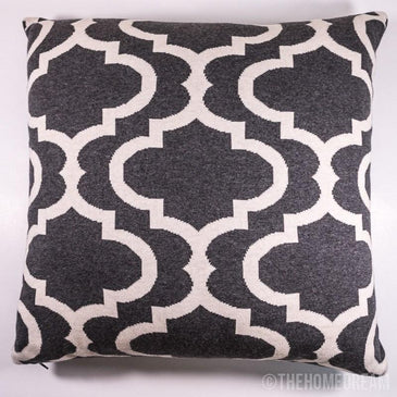 TRELLIS Charcoal & White Knitted Cotton Square Cushion Cover