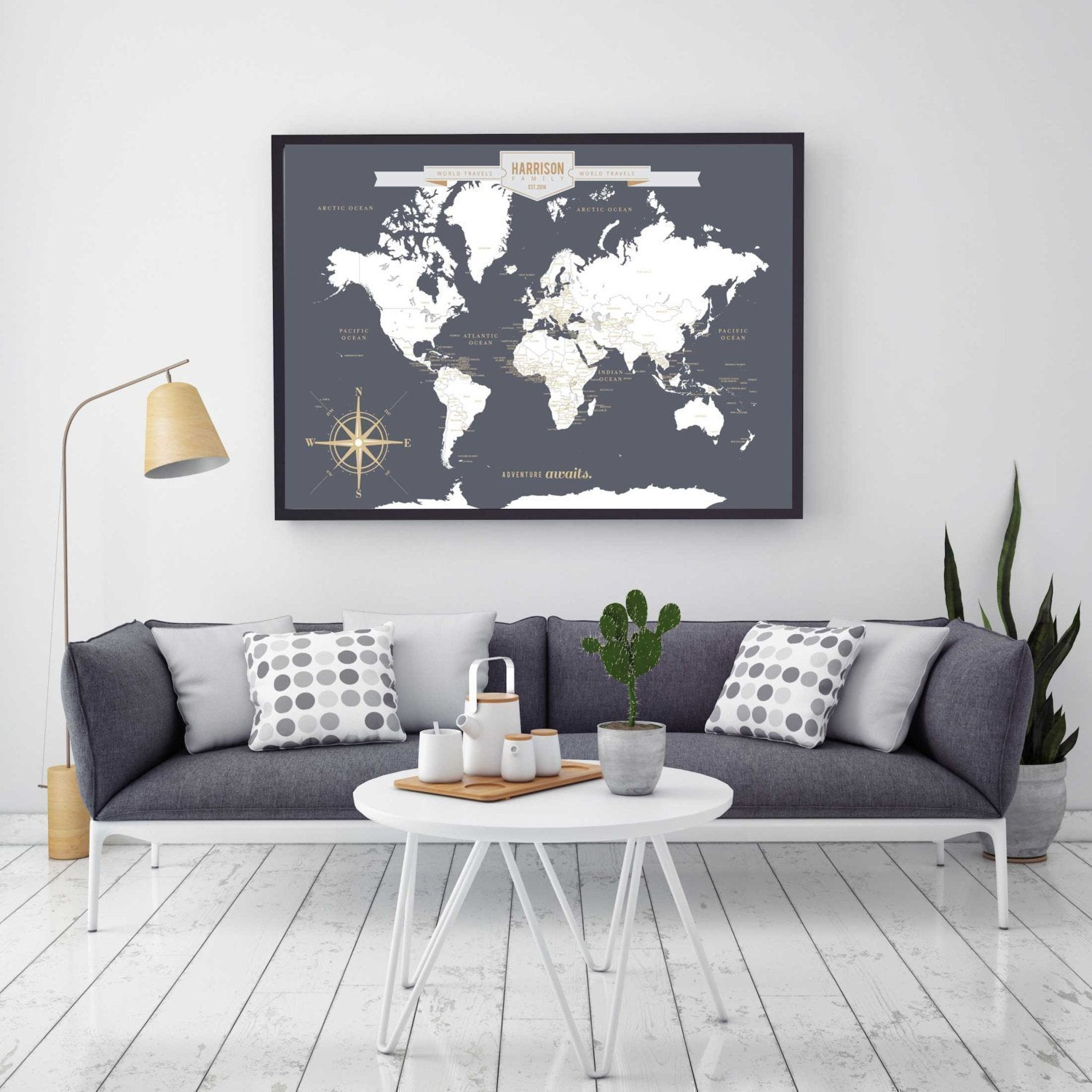 Personalized World Travel Map With Push Pins