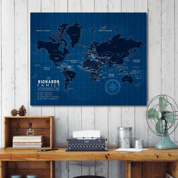 blueprint office decor map