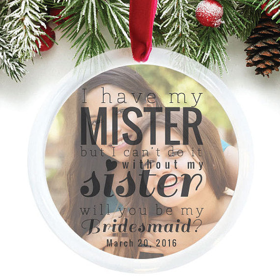 bridesmaid custom ornament gift