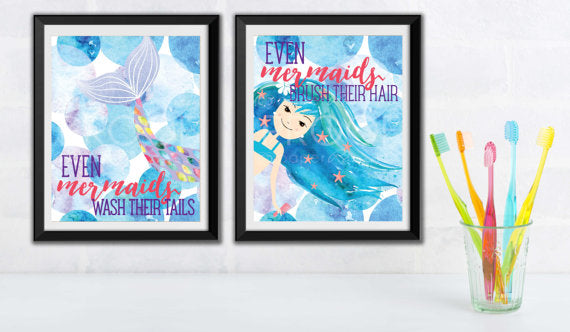 mermaid bathroom girl art