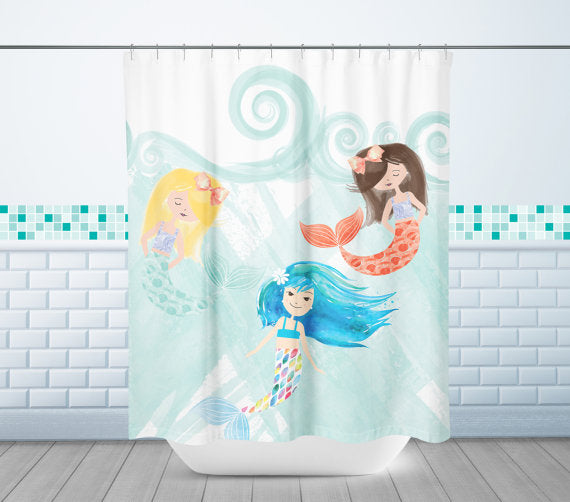 mermaid girl bathroom decor