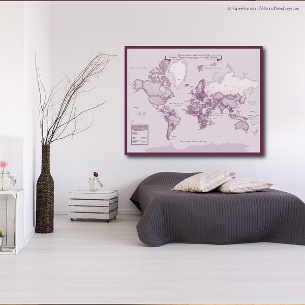 newlywed gift map art