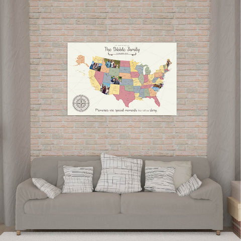 custom usa picture map art