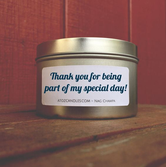 bridesmaid thank you gift candles