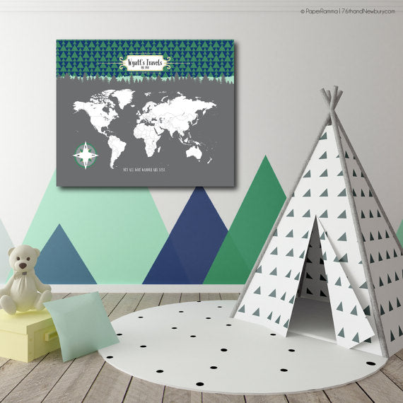 nursery map decor