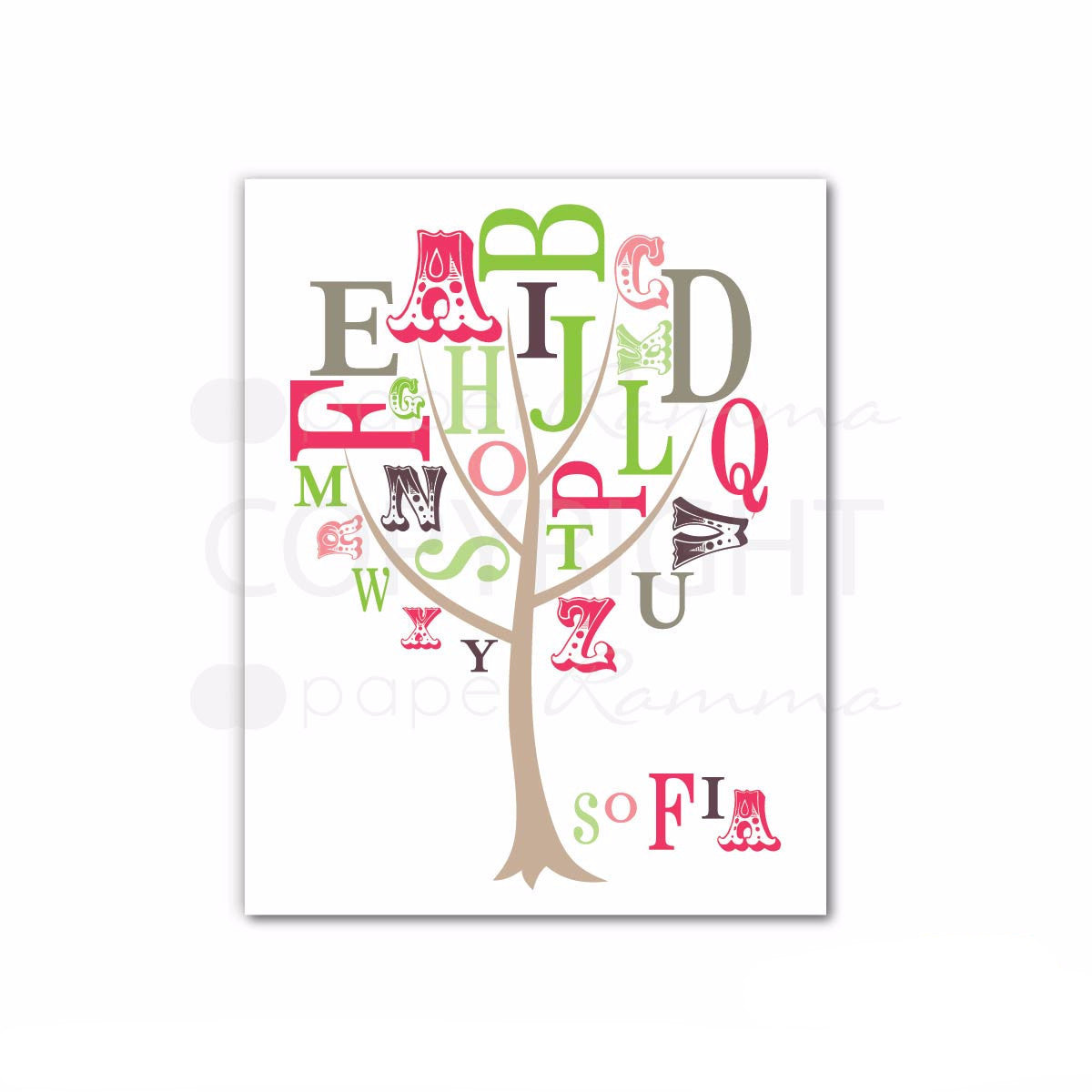 ABC Tree Print featuring Child's Name</br> <small> <i> Nursery & Kids Art Print</i> </br> <small> Available in 5x7 - 20x30