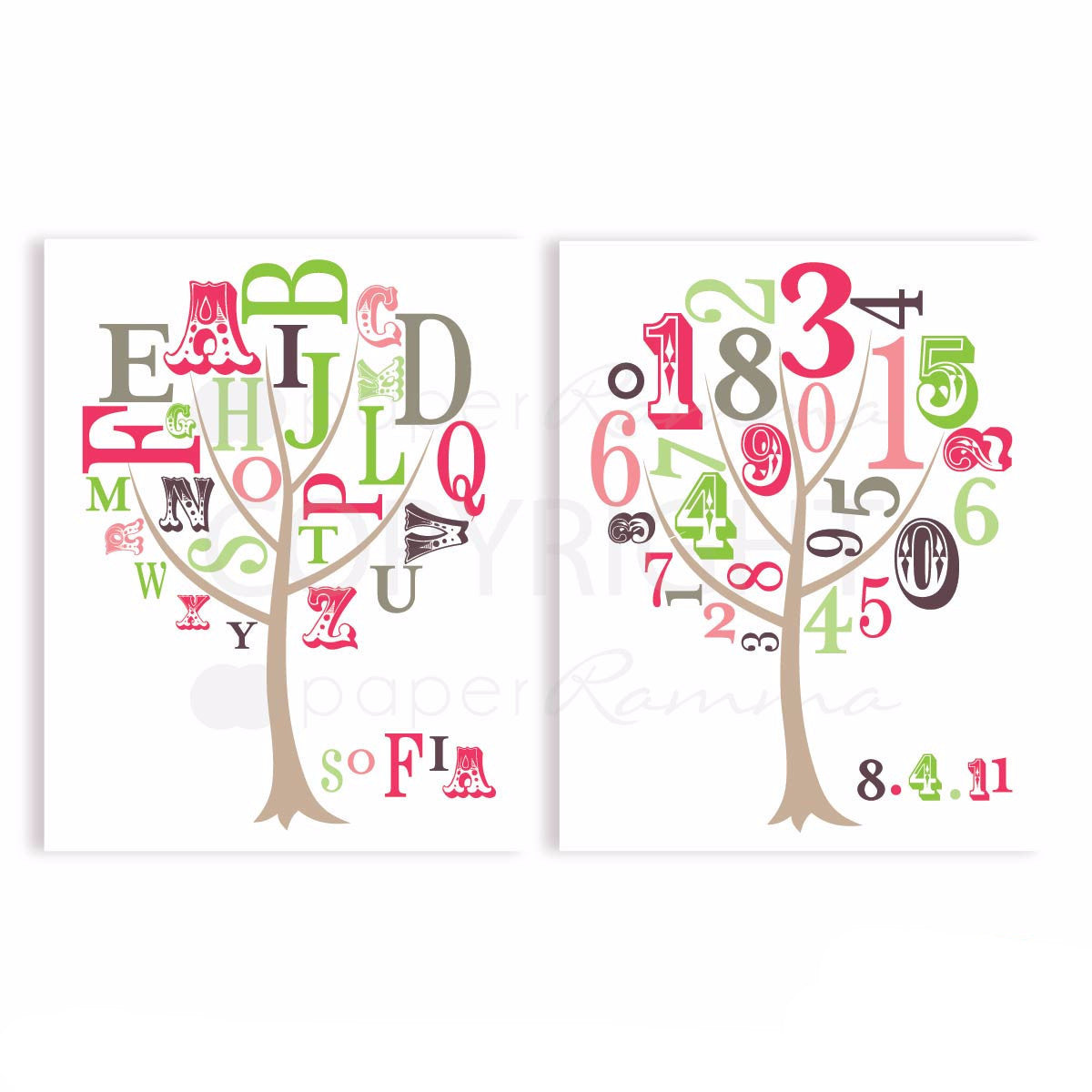 ABC and 123 Tree Nursery & Kids Art Print Set