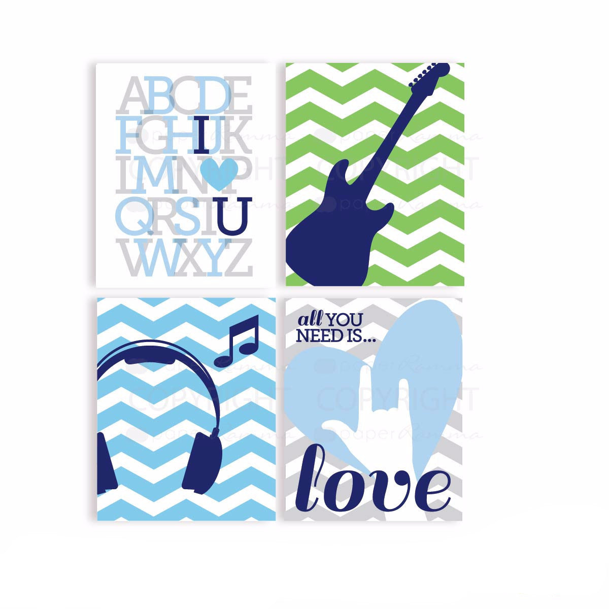 Music theme Prints, Nursery & Kids Art Print Set