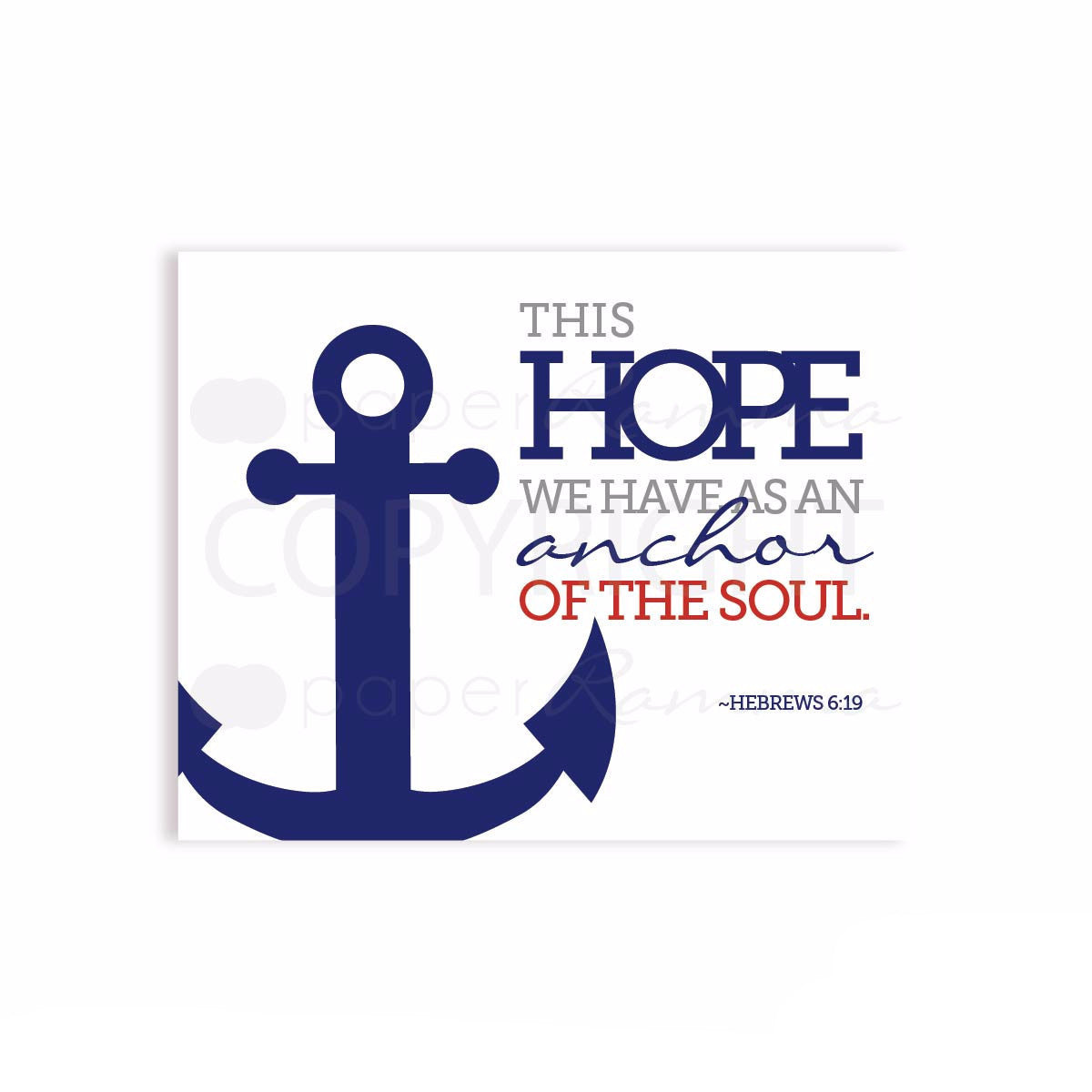 Anchor of the Soul Hebrews 6:19 Art Print Nursery & Kids Art Print