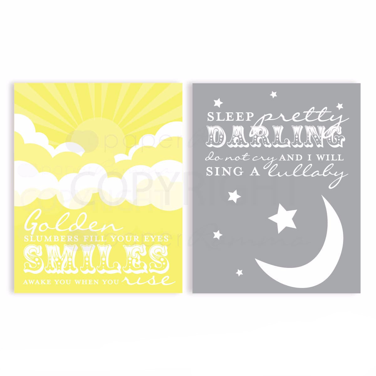 Golden Slumbers Beatles  Nursery & Kids Art Print Set