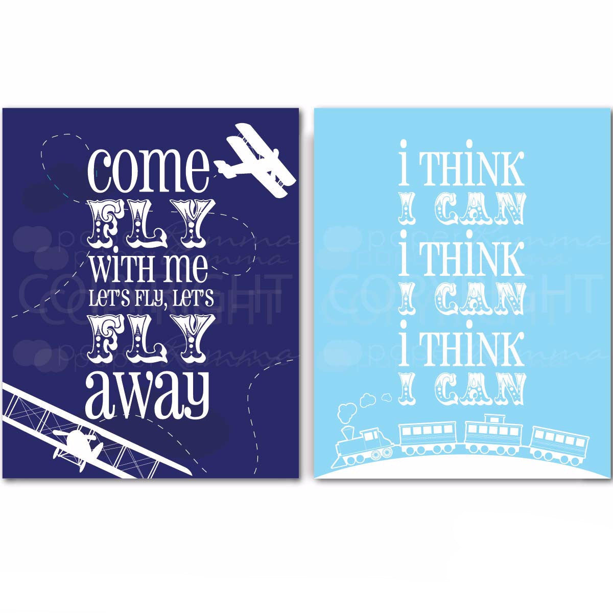 Train & Plane Nursery & Kids Art Print Set