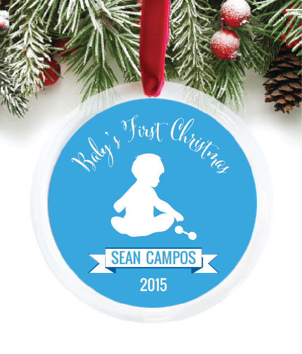 Baby Boy First Christmas Personalized Photo Ornament