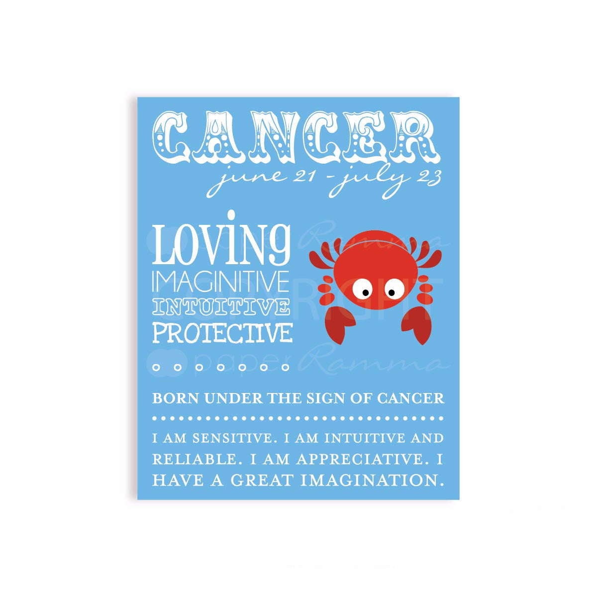 Cancer Zodiac Nursery Decor </br> <small> <i> Nursery & Kids Art Print </i> </br> <small> available in 5x7 - 20x30 </small>