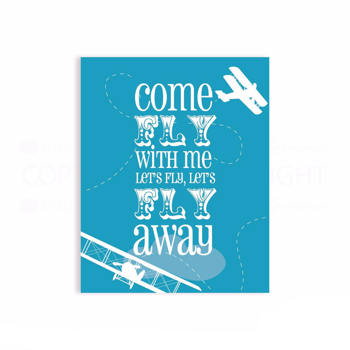 Come Fly with Me Nursery Airplane Print