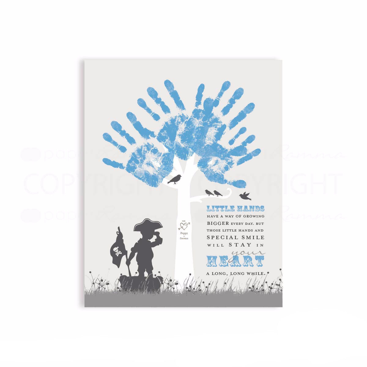 DIY Handprint Tree with Children's Silhouettes