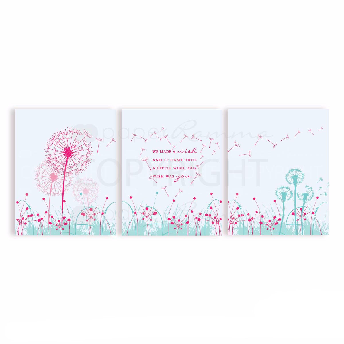 Dandelion Quote Nursery & Kids Art Print Set