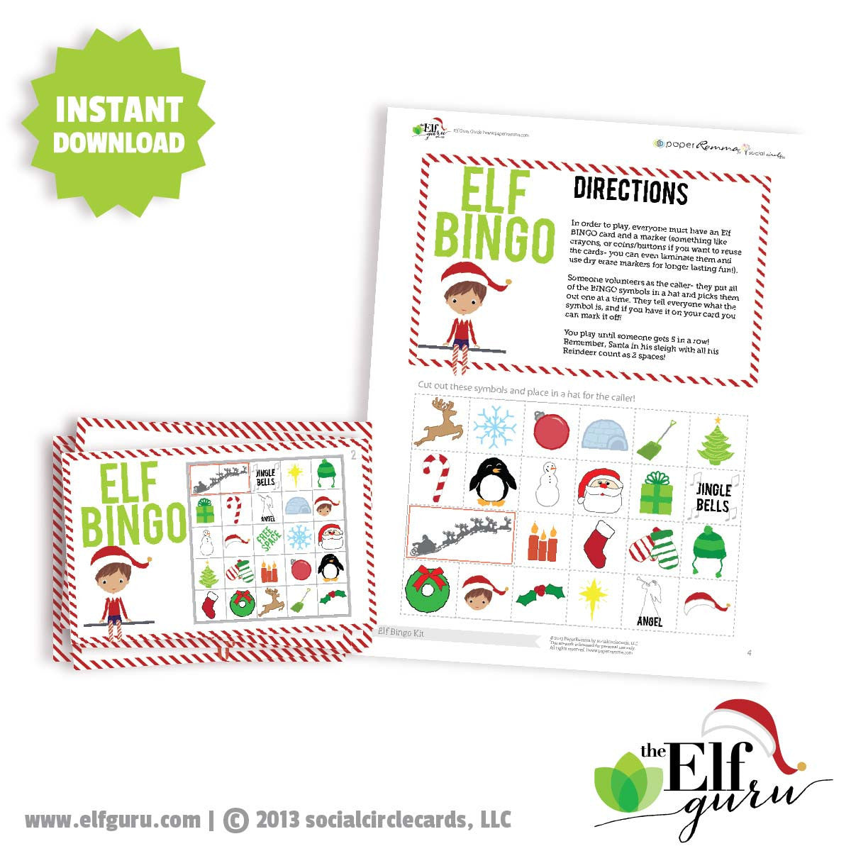 Elf Christmas Bingo Game