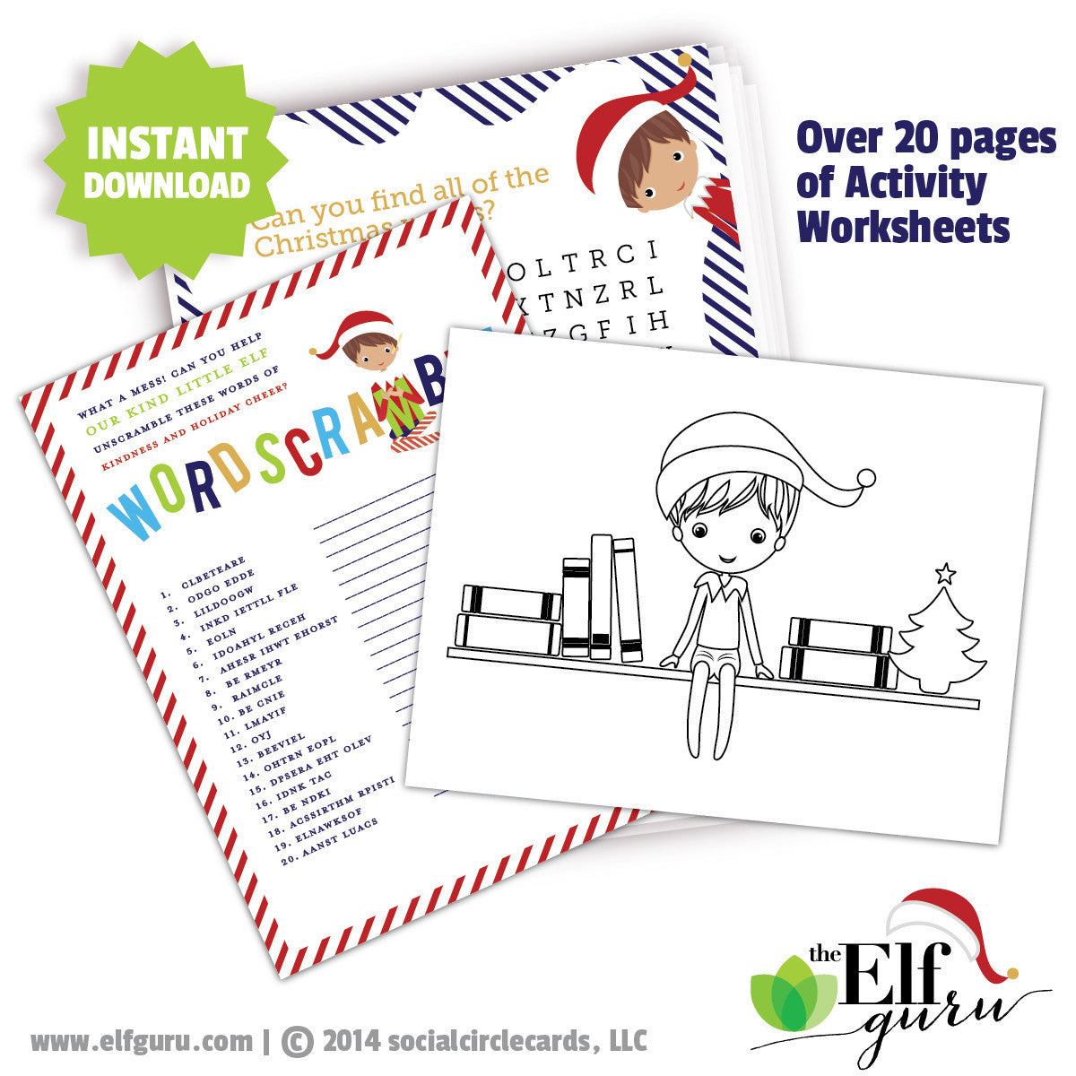 Elf Activity Worksheets, Printable Elf puzzles</br> <small> <i>  Printable</i> </br> <small> Available in Digital File