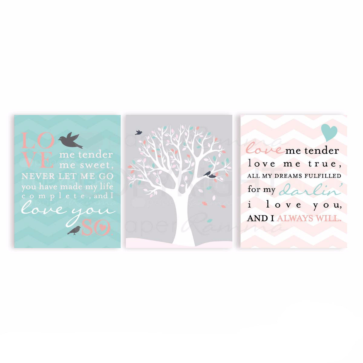 Love Me Tender Nursery & Kids Art Print Set