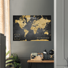 World Push Pin Map | Distressed Black