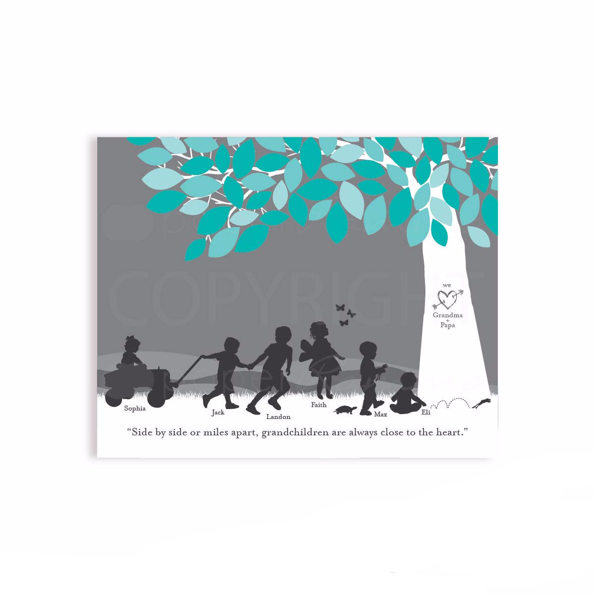 Personalized Grandchildren Silhouette Print
