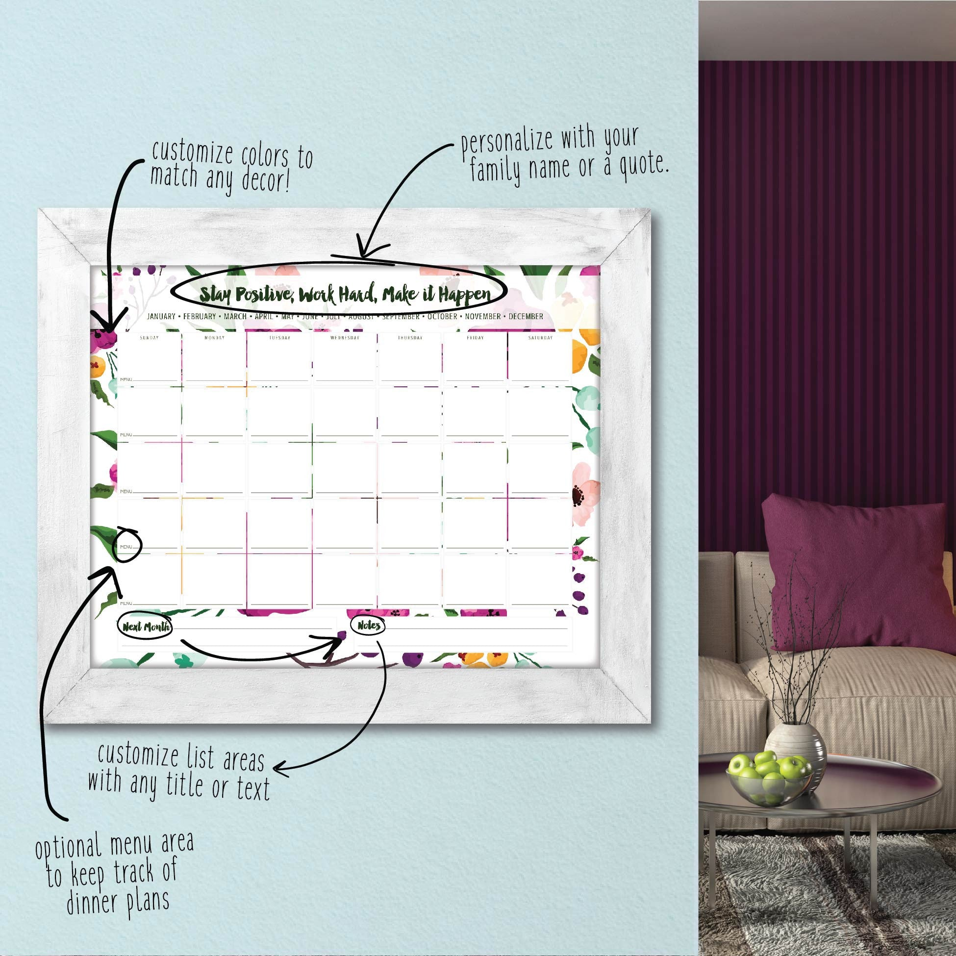Floral Dry Erase Traditional Calendar