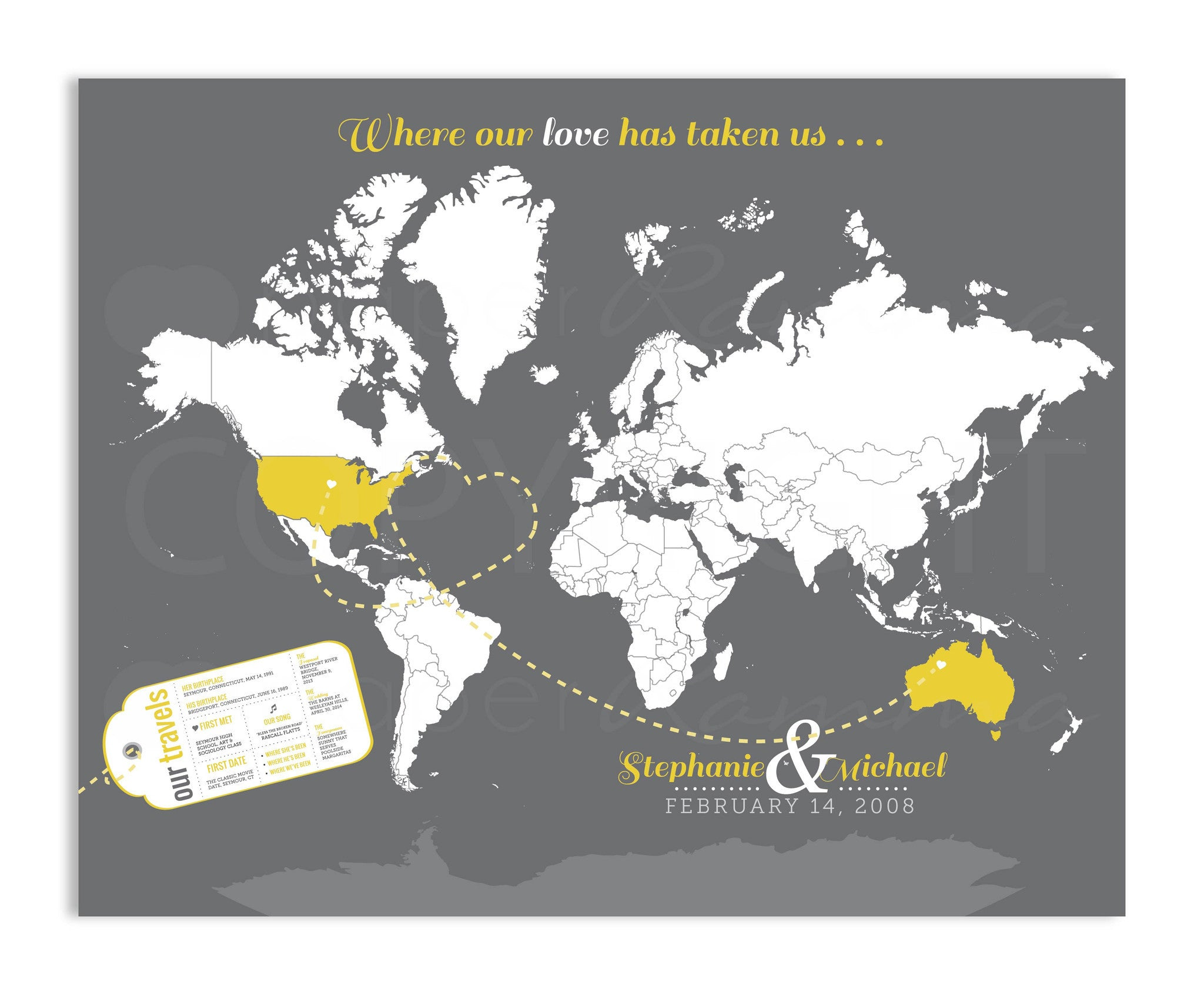 Newlywed Luggage Tag Travel Map