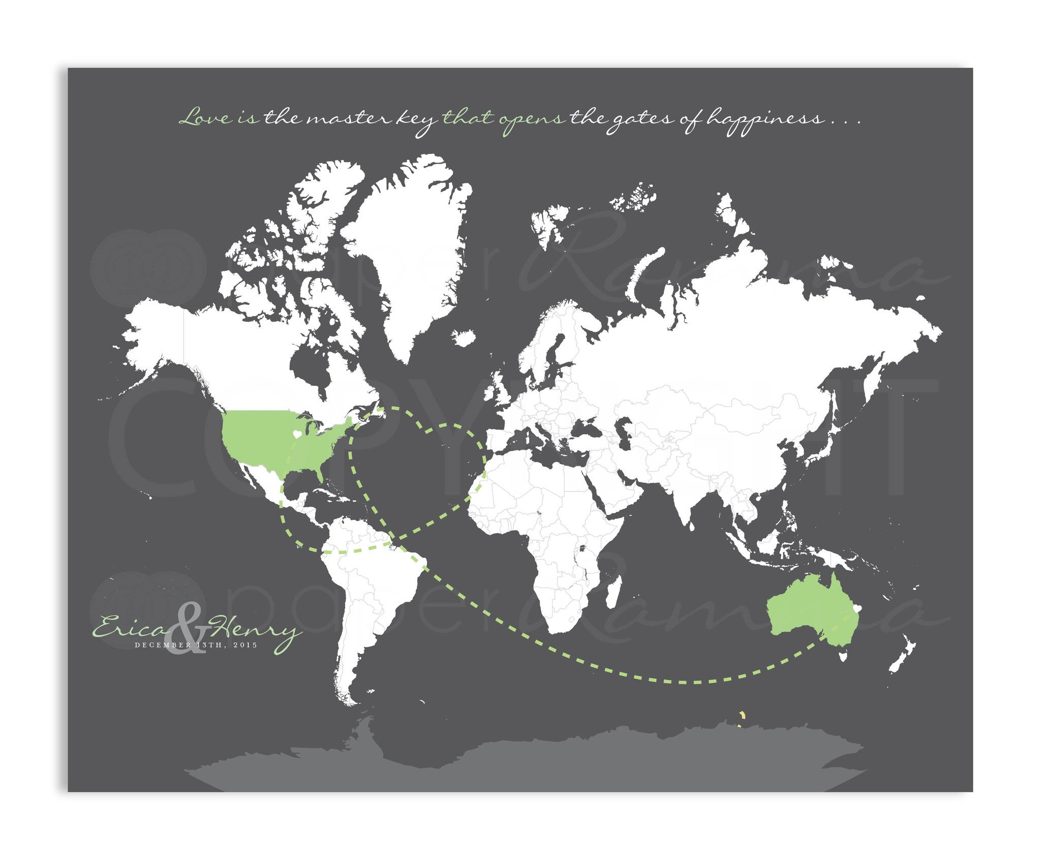 Newlywed Modern Key Travel Map