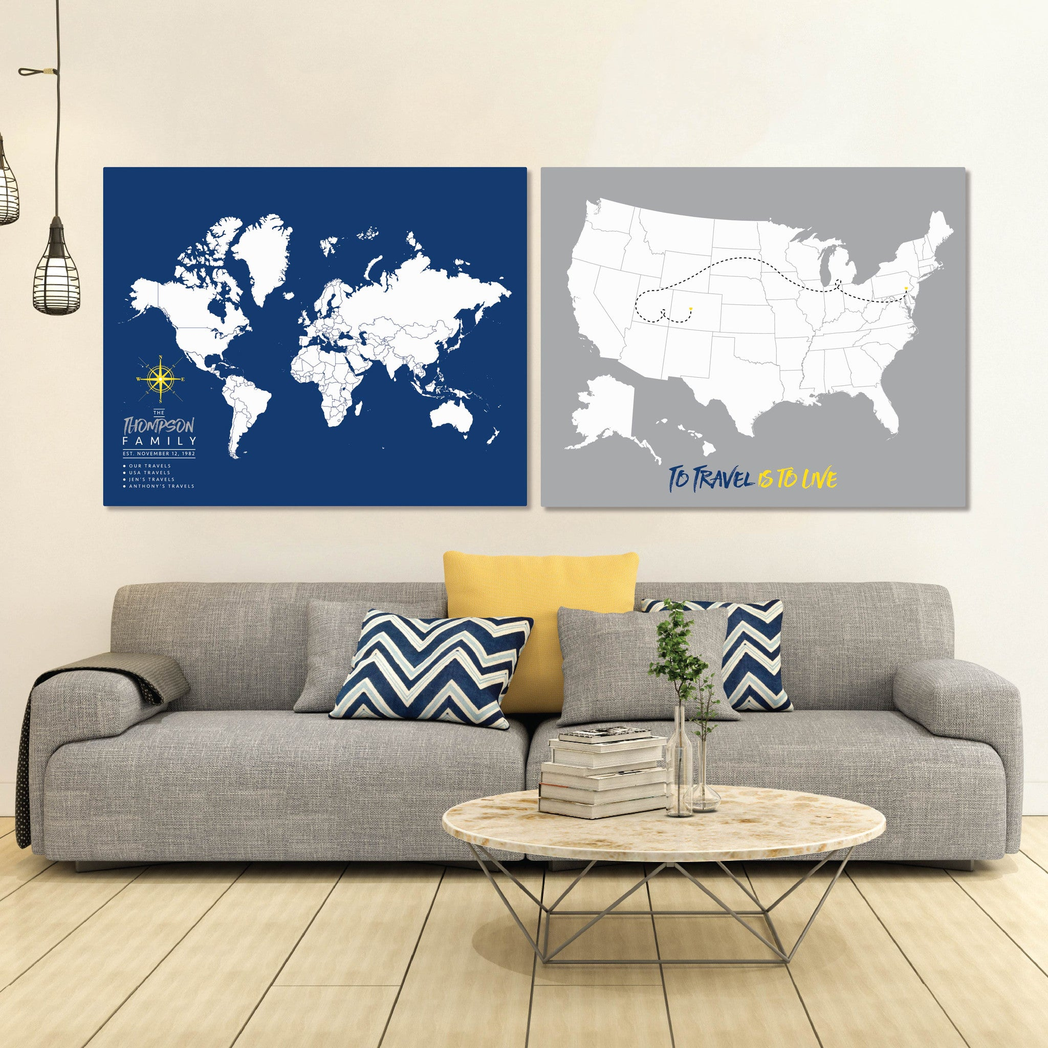 Personalized World Travel Map With Push Pins  Thandnewbury - Us travel map push pin