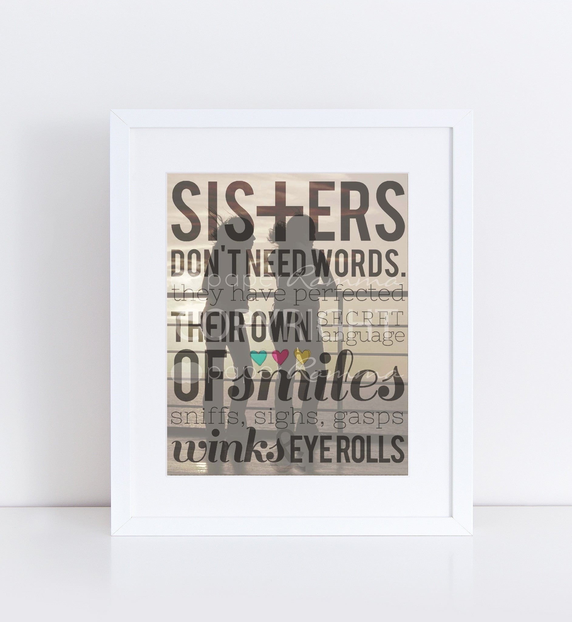 Sister's Don't Need Words, Sunset, Personalized Photo Quote