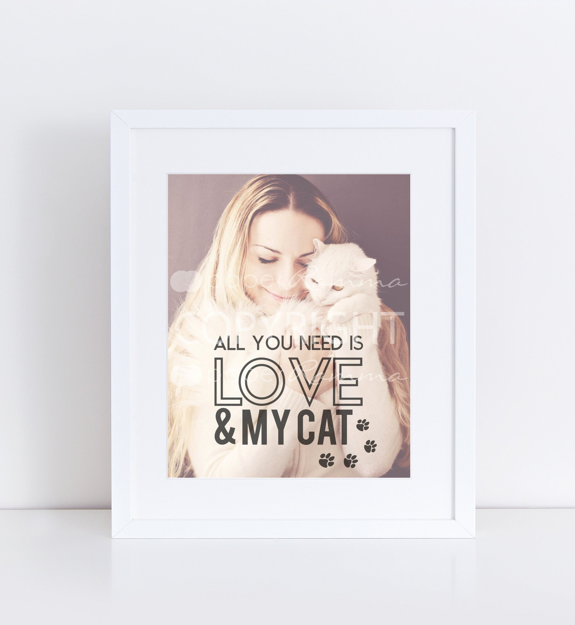 Love & My Cat Personalized Photo Quote
