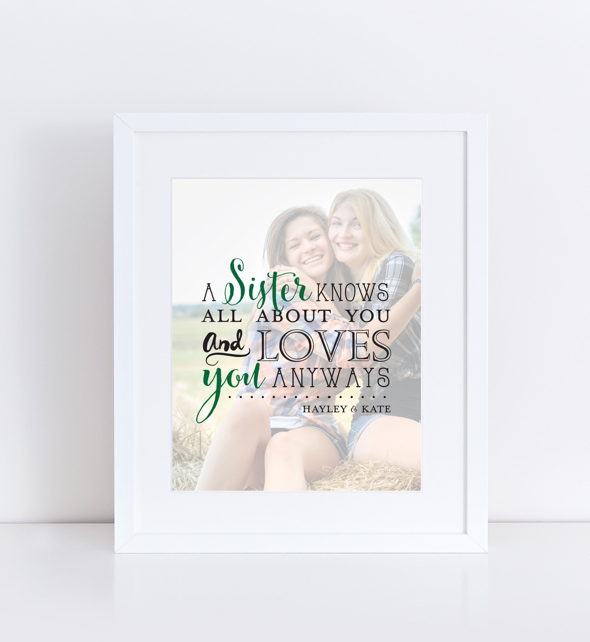 Sister's Love Personalized Photo Quote
