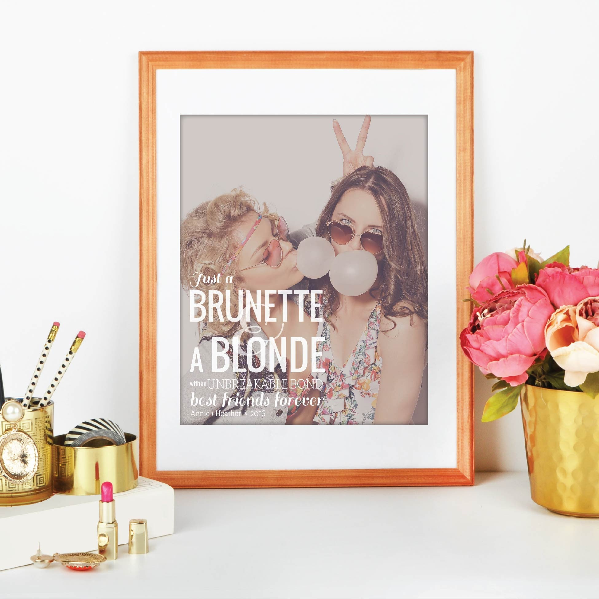 Brunette & Blonde Personalized Photo Quote