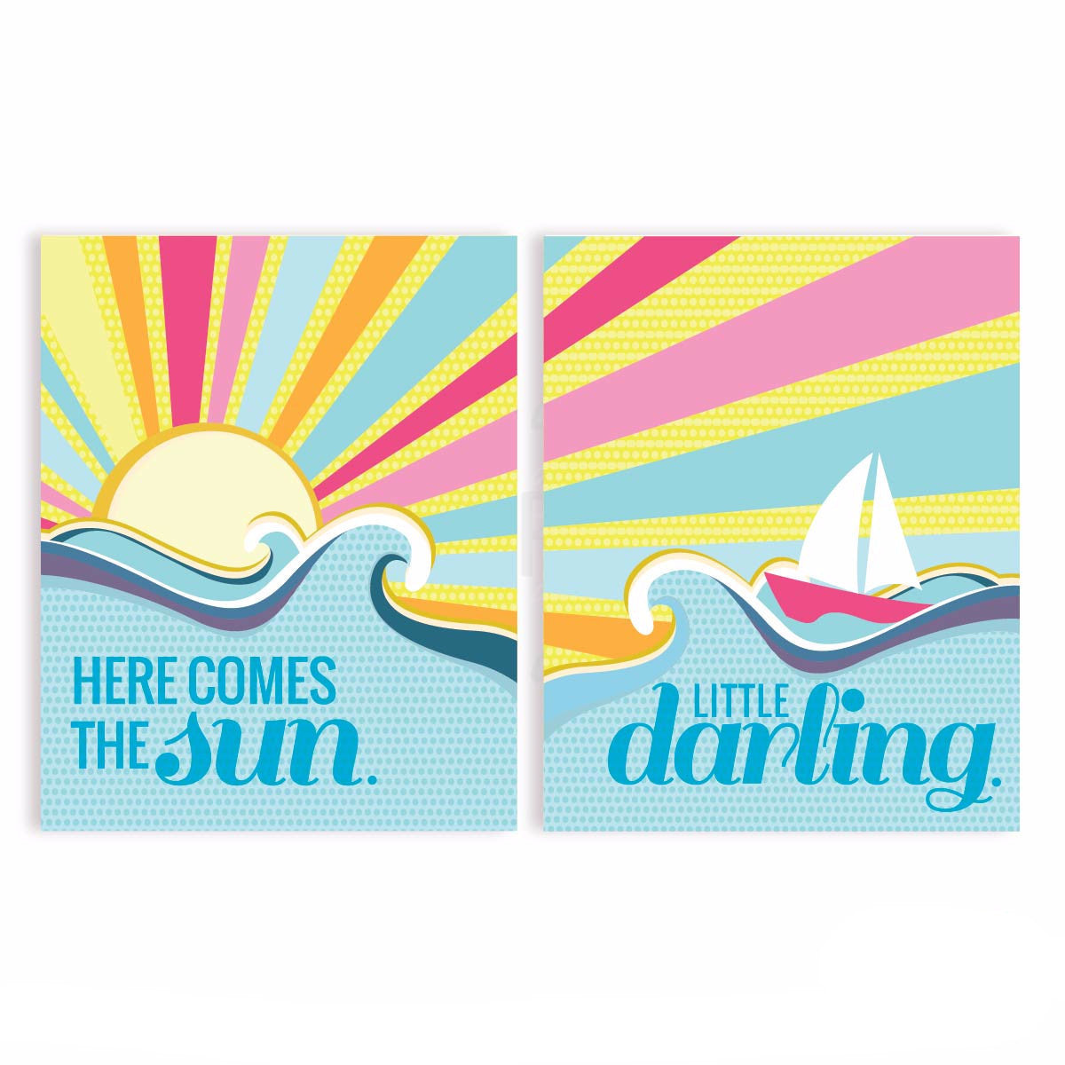 Here Comes The Sun Lyric Nursery & Kids Art Print Set