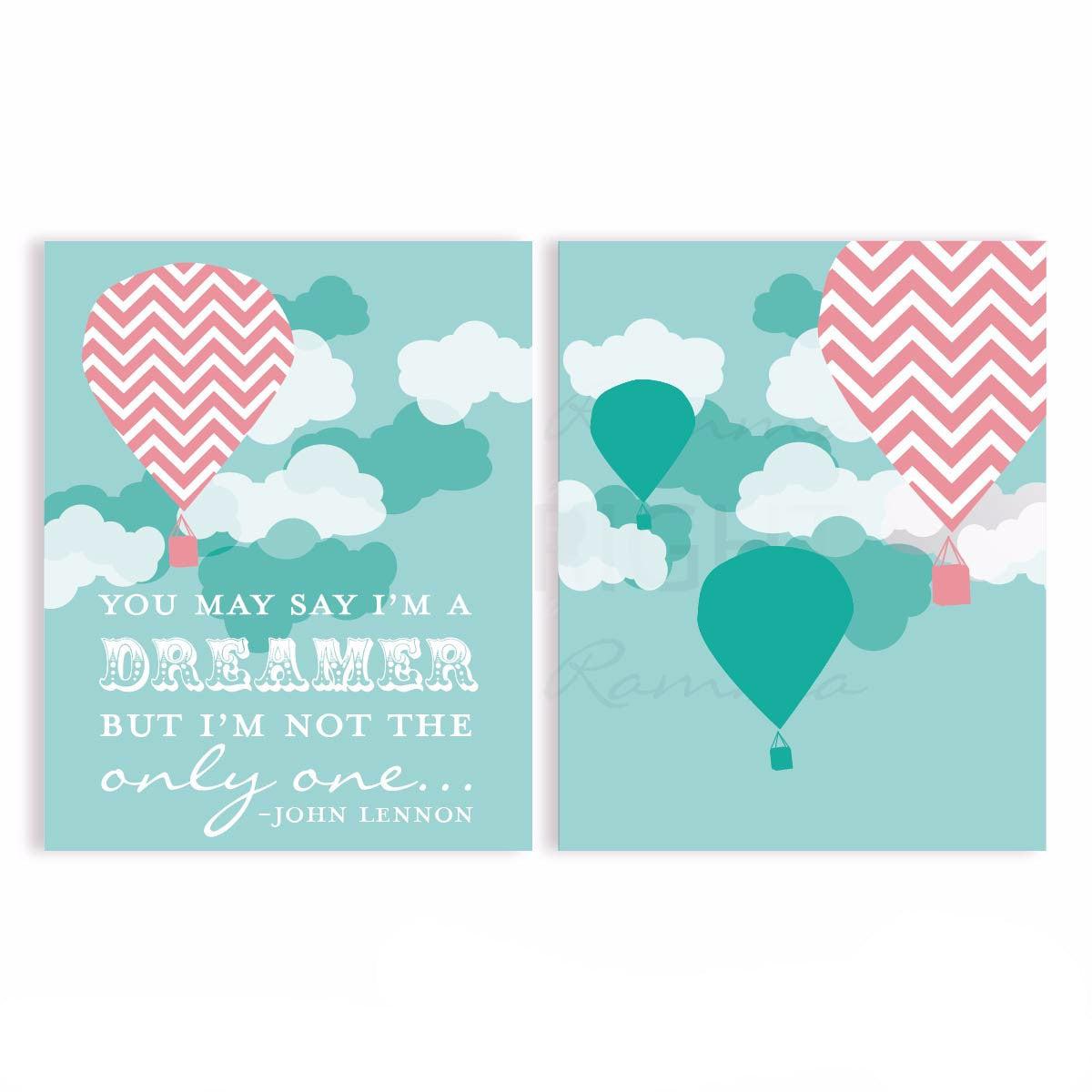 Imagine Lyric Nursery Hot Air Balloon Nursery & Kids Art Print Set