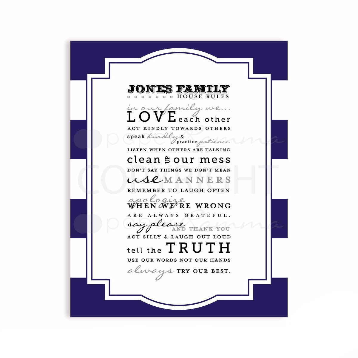 Striped House Rules Custom Quote
