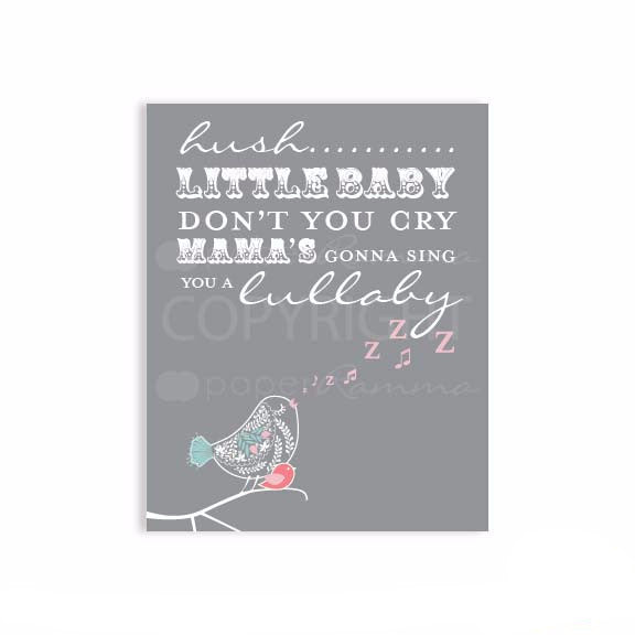Hush Little Baby Lyrics Nursery & Kids Art Print