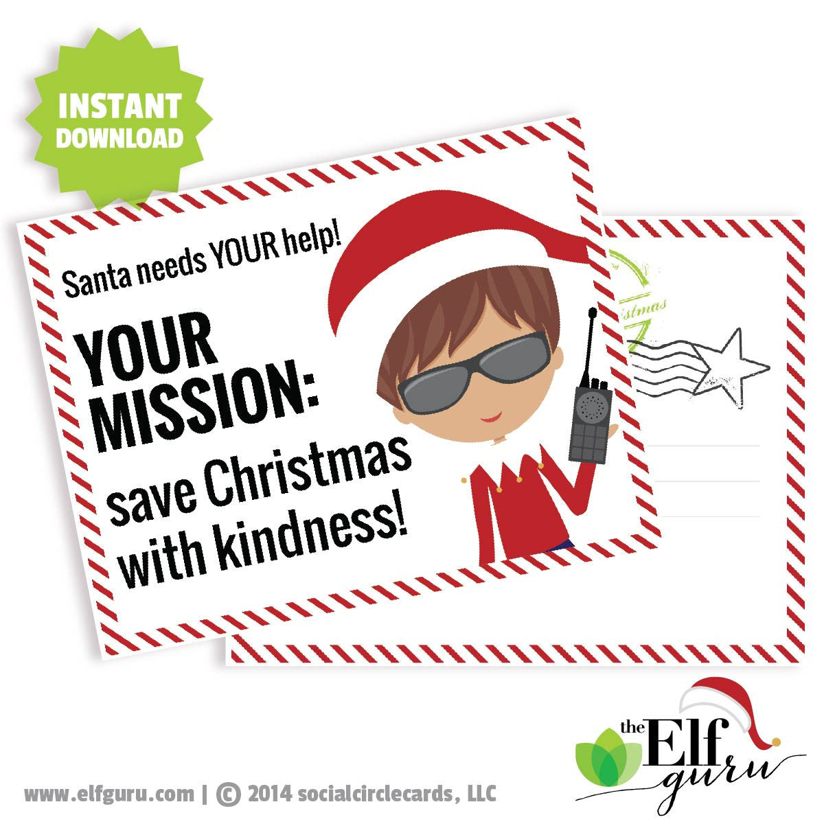 Elf Mission Kindness Postcard