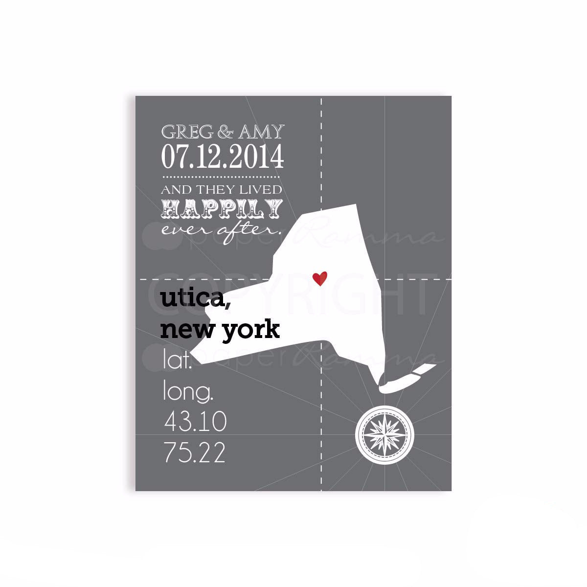 Wedding Coordinates Travel Print