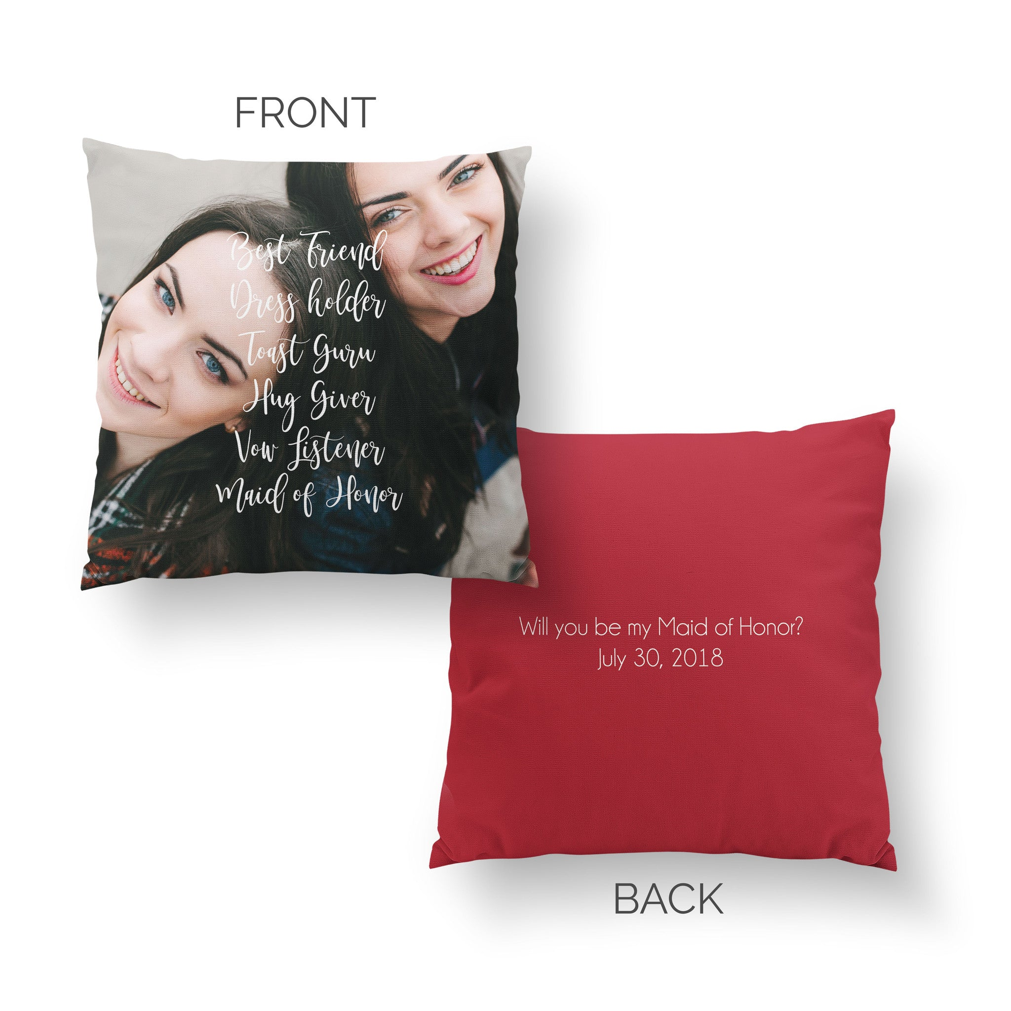 Maid of Honor Pillow - Best Friend