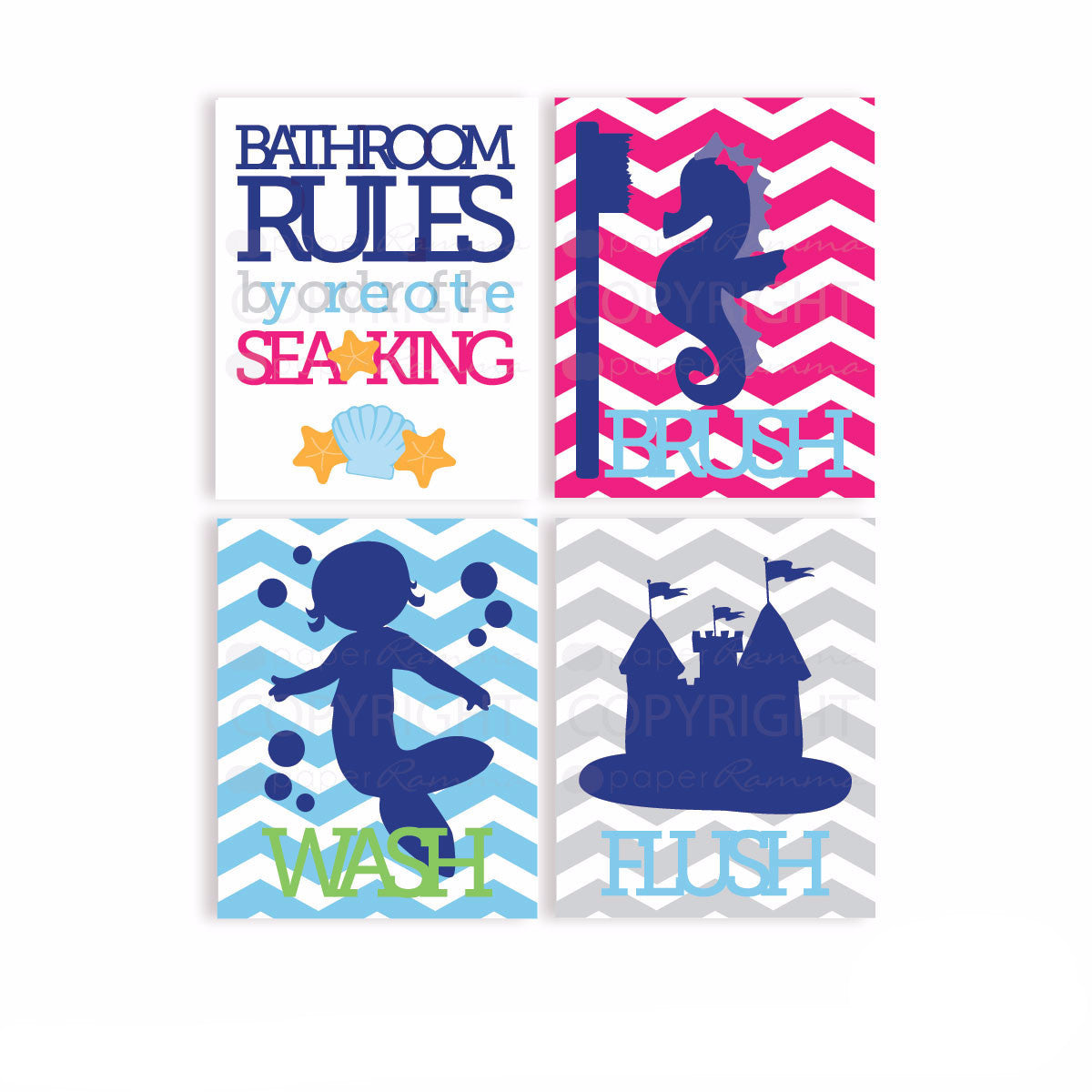 Mermaid Bathroom Rules...by order of the Sea King...Wash, Brush, Flush</br> <small> <i> Nursery & Kids Art Print Set </i> </br> <small> available in 5x7 - 20x30 </small>
