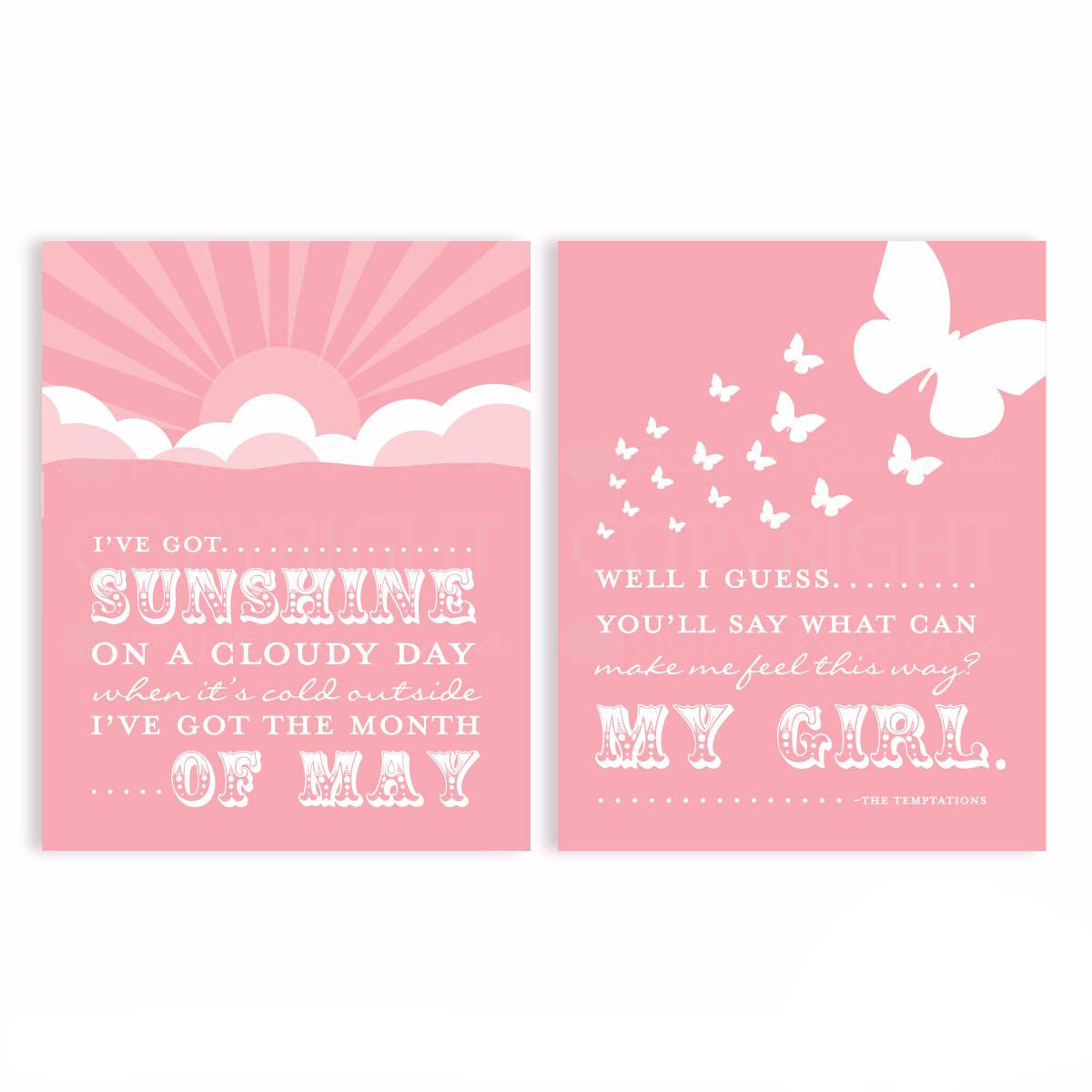 My Girl, I've got Sunshine Nursery & Kids Art Print Set