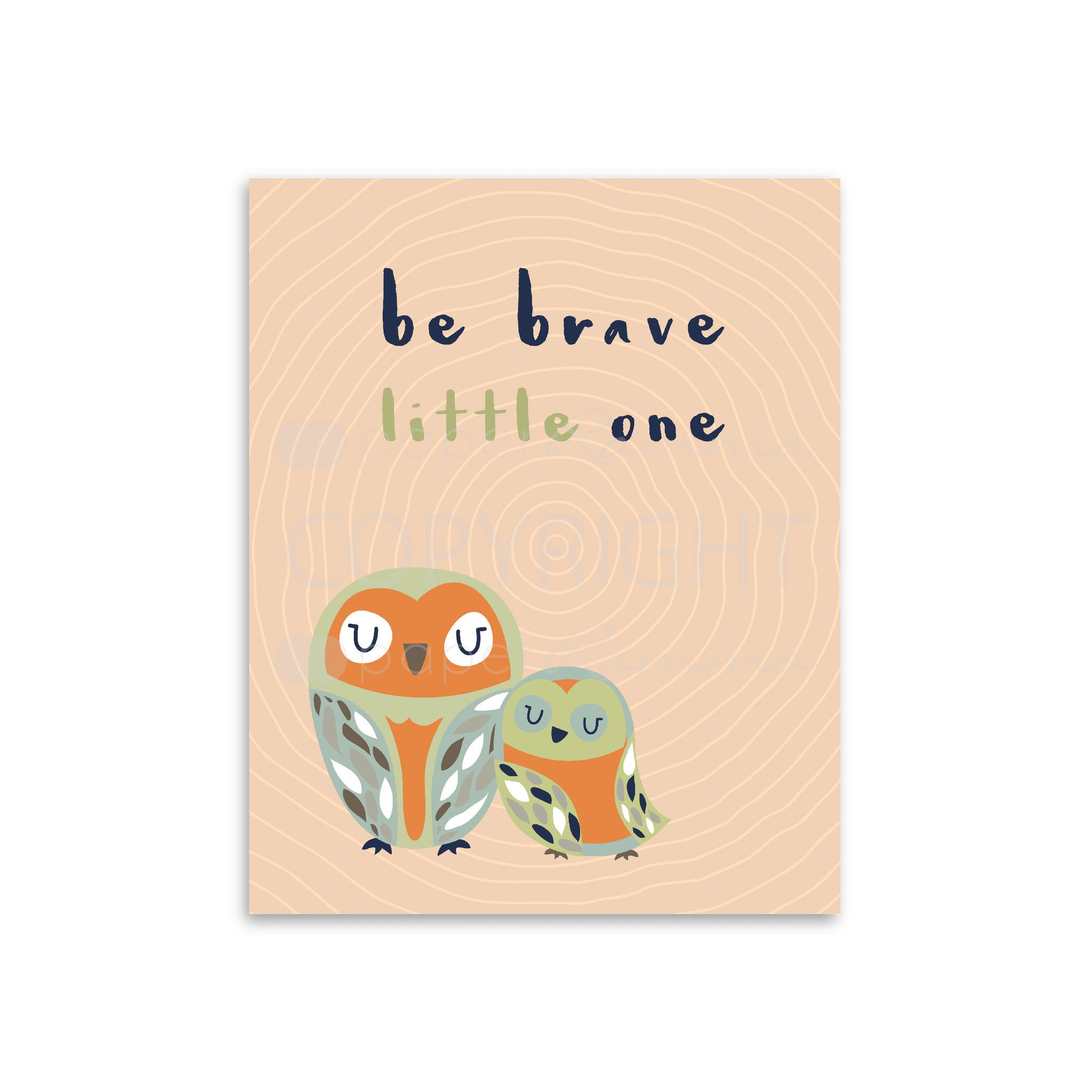 Be Brave Little One Owl Print, Nursery & Kids Art Print